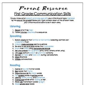 1st Grade Comm Skills (English & Spanish)