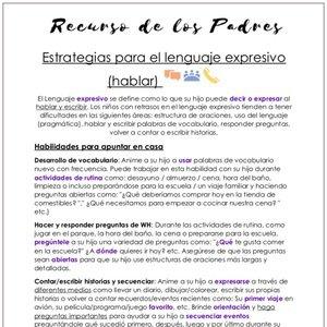 Estrategias para el lenguaje expresivo (hablar)
