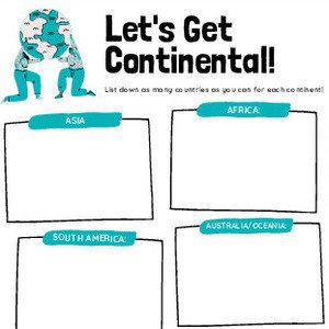 Lets Get Continental Graphic Organizer