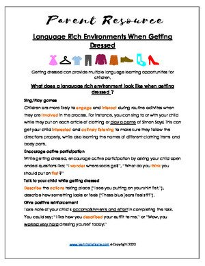 Language in Daily Routines- Getting Dressed