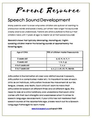 Speech Sound Development (English & Spanish)