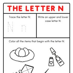 Initial /n/ Coloring Pages