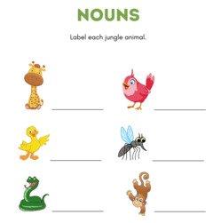 Jungle Animals Early Language Worksheet Bundle