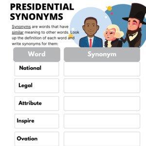Presidental Synonyms Fillable