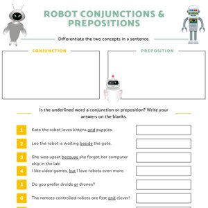 Robot Conjunctions and Prepositions Printable