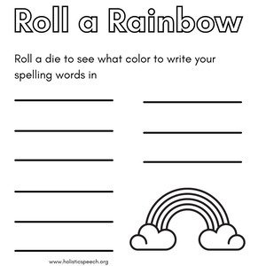 Roll a Rainbow Color Worksheet