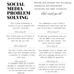Social Media Problem Solving Printable