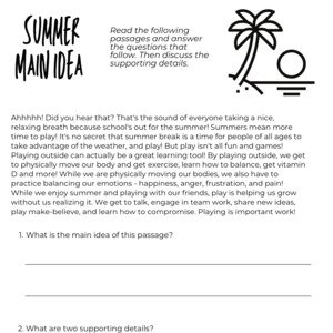 Summer Main Idea and Details Printable